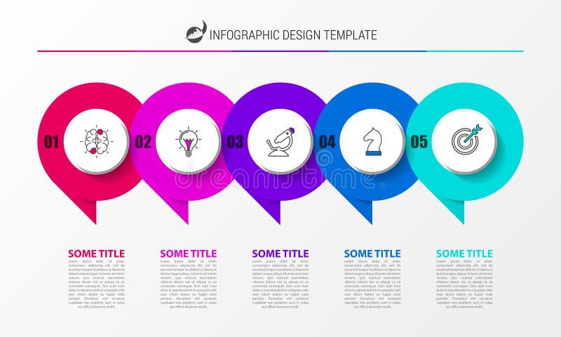 Het malplaatje van het Infographicontwerp Creatief concept met 5 stappen vector illustratie