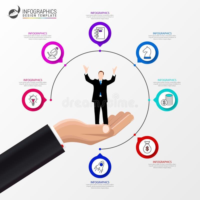 Het malplaatje van het Infographicontwerp Creatief concept met 7 stappen vector illustratie