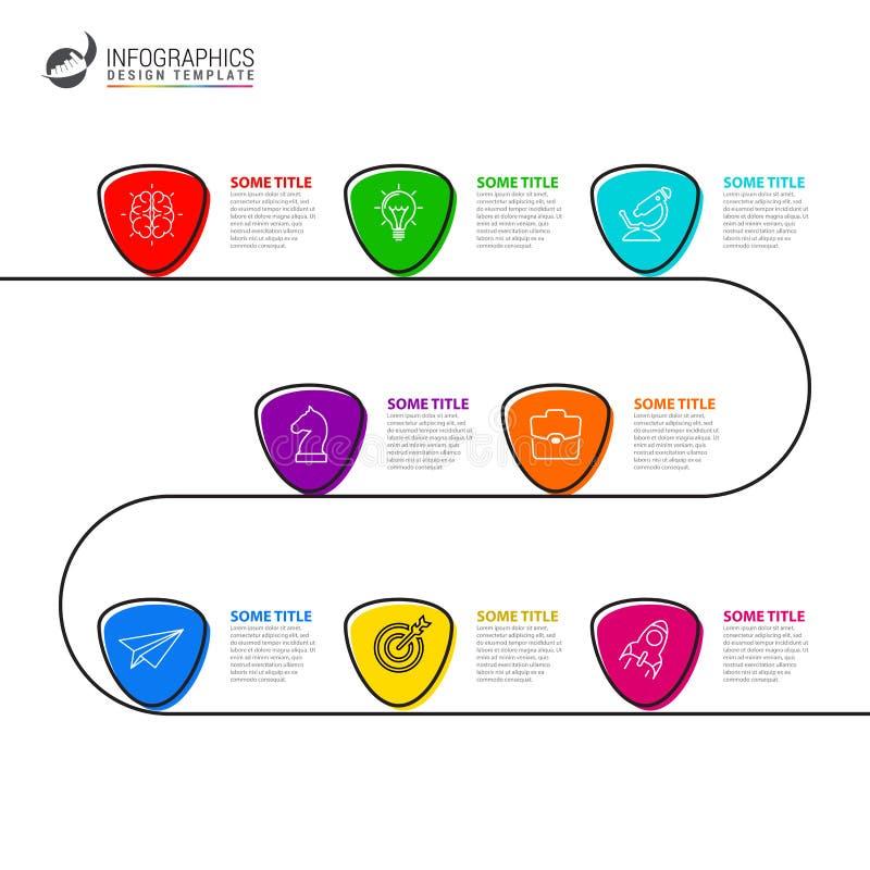 Het malplaatje van het Infographicontwerp Creatief concept met 8 stappen stock illustratie