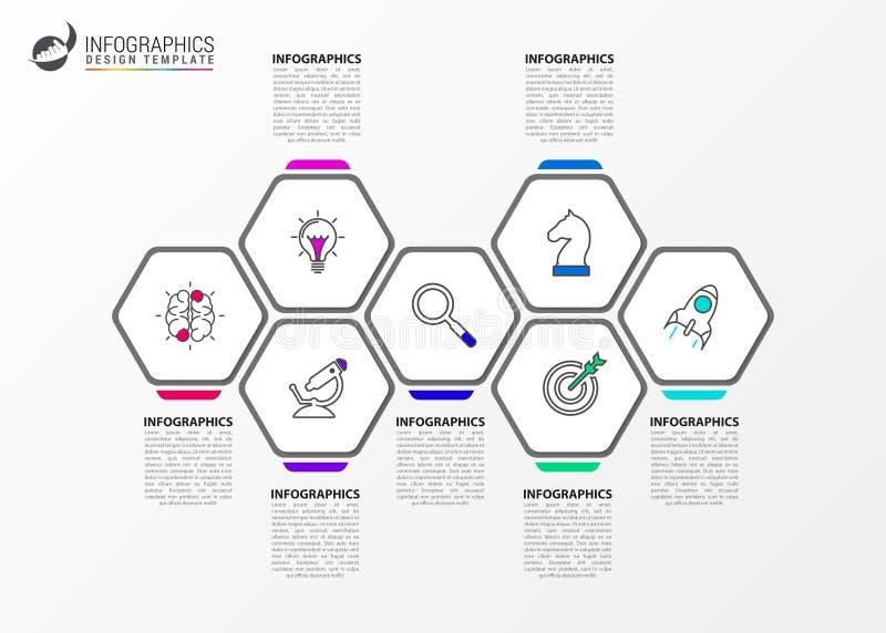 Het malplaatje van het Infographicontwerp Creatief concept met 7 stappen royalty-vrije illustratie