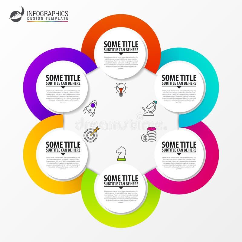 Het malplaatje van het Infographicontwerp Creatief concept met 6 stappen vector illustratie