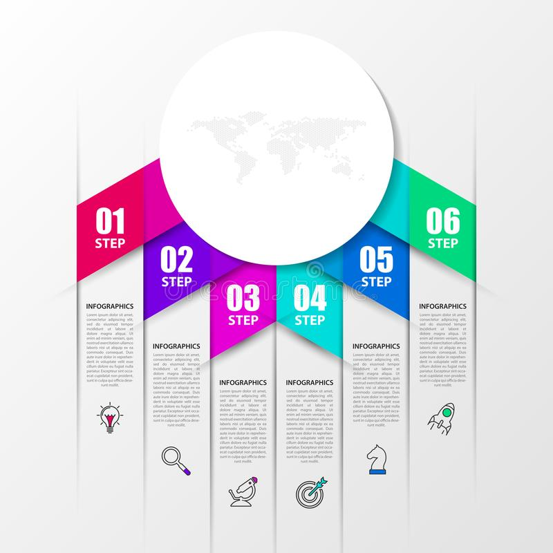 Het malplaatje van het Infographicontwerp Creatief concept met 6 stappen Kan voor werkschemalay-out, diagram, banner worden gebru vector illustratie