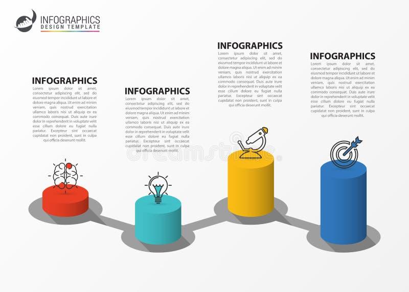 Het malplaatje van het Infographicontwerp Creatief concept met 4 stappen stock illustratie
