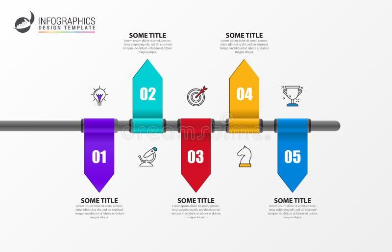 Het malplaatje van het Infographicontwerp Creatief concept met 5 stappen stock illustratie