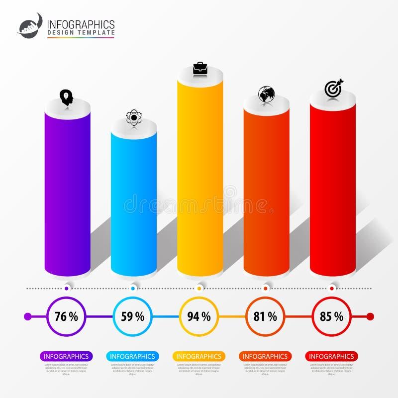Het malplaatje van het Infographicontwerp 3D presentatie van de Kolomgrafiek royalty-vrije illustratie