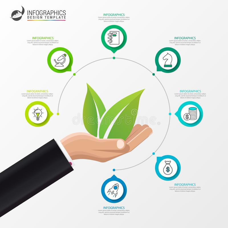 Het malplaatje van het Infographicontwerp Ecologieconcept met 7 stappen stock illustratie
