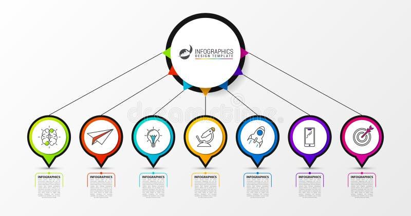 Het malplaatje van het Infographicontwerp met 7 stappen Vector vector illustratie
