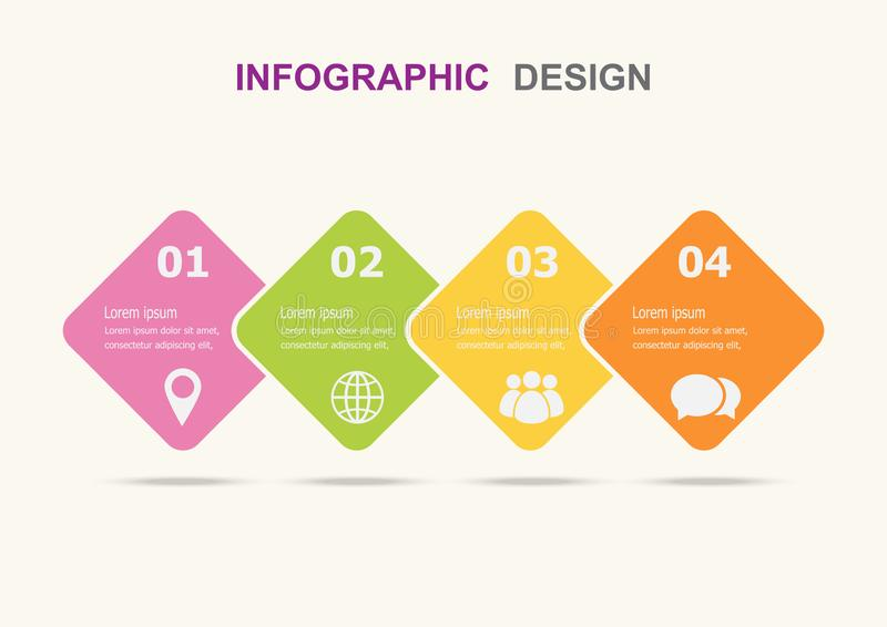 Het malplaatje van het Infographicontwerp met vier stappen royalty-vrije illustratie