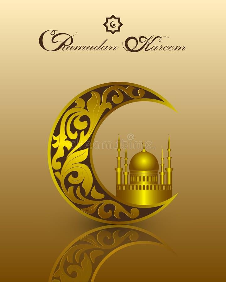 Het malplaatje van islamramadan kareem met gouden patroon voor groetkaart, uitnodiging Maan, een moskee, traditionele Moslimsymbo vector illustratie