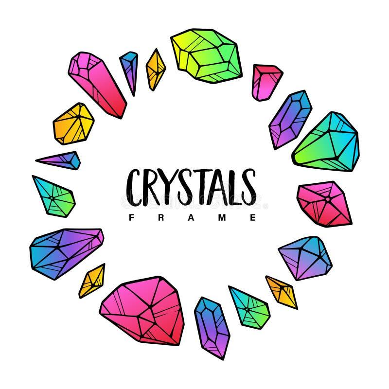 Het malplaatje van het kristallenkader Gekleurd om leuke illustratie stock illustratie
