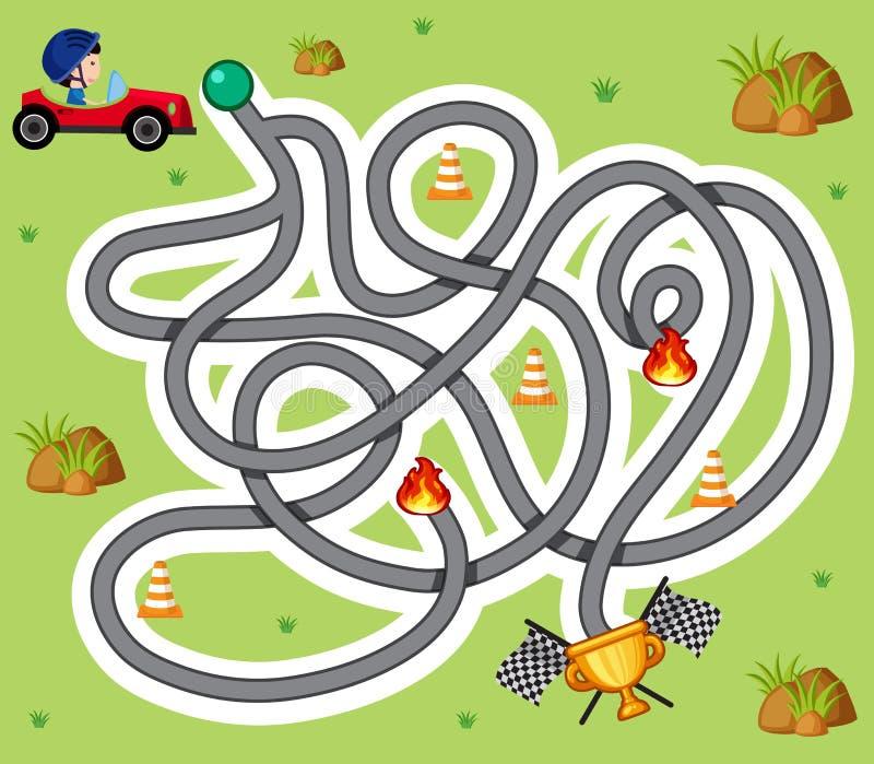 Het malplaatje van het labyrintspel met jongen in raceauto royalty-vrije illustratie