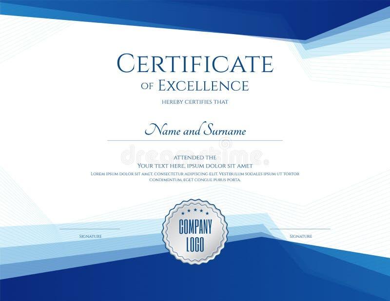 Het malplaatje van het luxecertificaat met elegant grenskader, Diploma D royalty-vrije illustratie