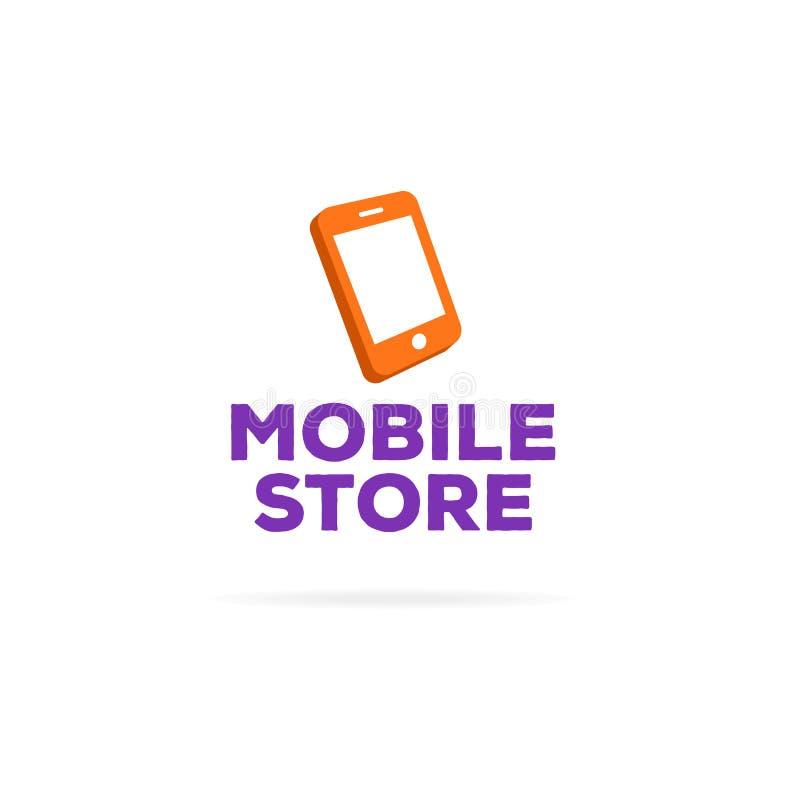 Het malplaatje van het mobiele opslagembleem met oranje telefoon stock illustratie
