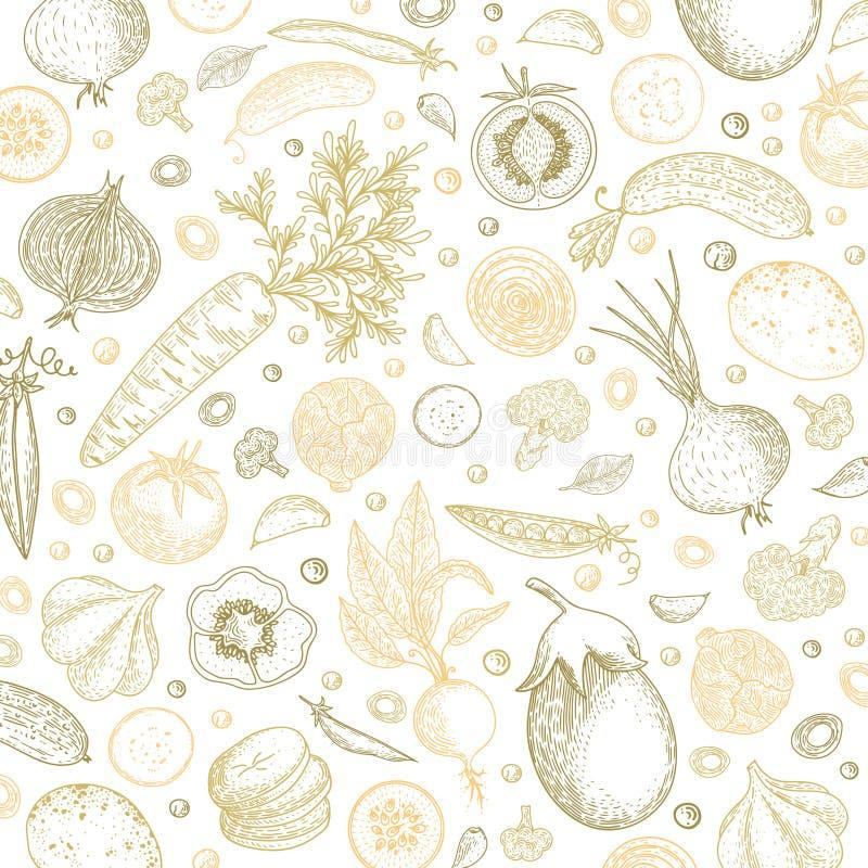 Het malplaatje van het natuurvoedingontwerp De achtergrond van pastelkleurgroenten Gedetailleerde vegetarische voedseltekening He stock illustratie