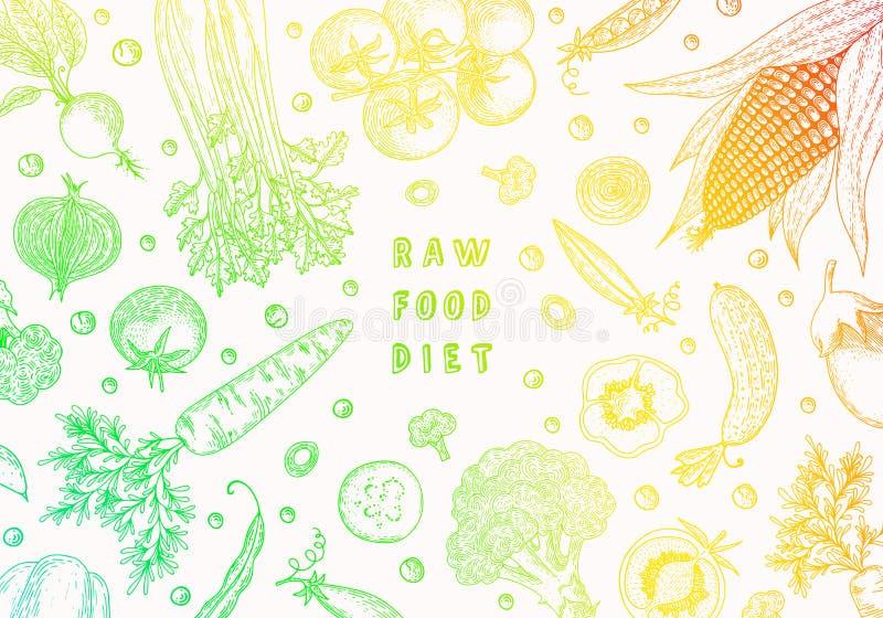 Het malplaatje van het natuurvoedingontwerp Verse product-groenten vegetables Hand getrokken illustratiekader met groenten Kleurr vector illustratie