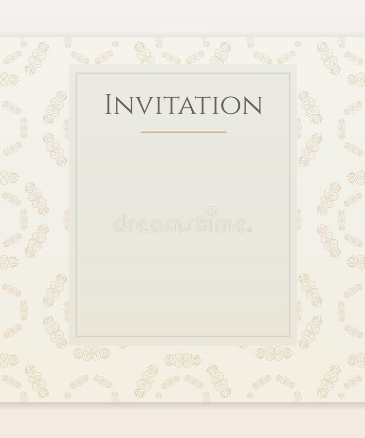 Het malplaatje van Nvitation met abstracte bloemen Het ontwerp van de huwelijksuitnodiging met patroonachtergrond stock fotografie