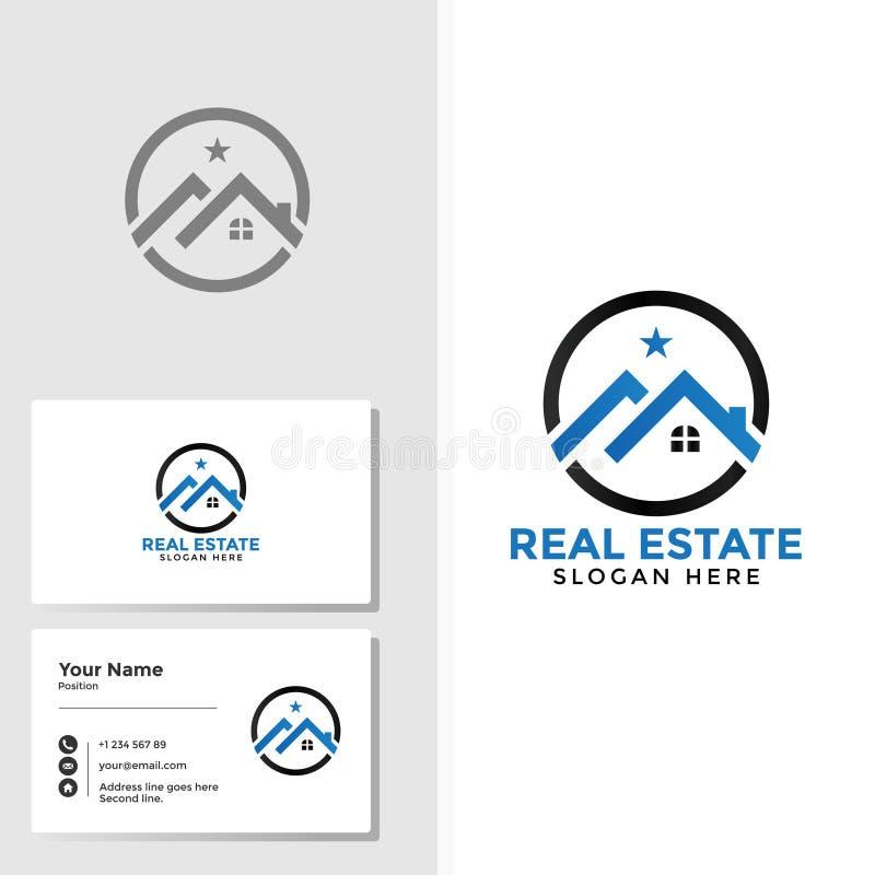 Het malplaatje van het onroerende goederenembleem met adreskaartjeontwerp royalty-vrije illustratie