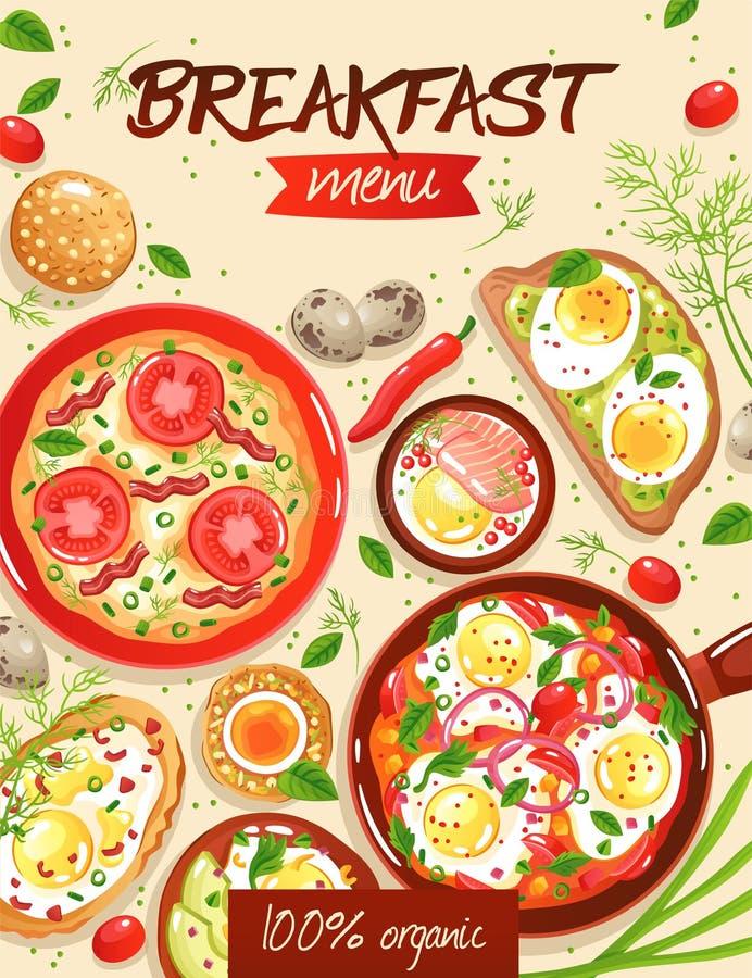Het Malplaatje van het ontbijtmenu stock illustratie