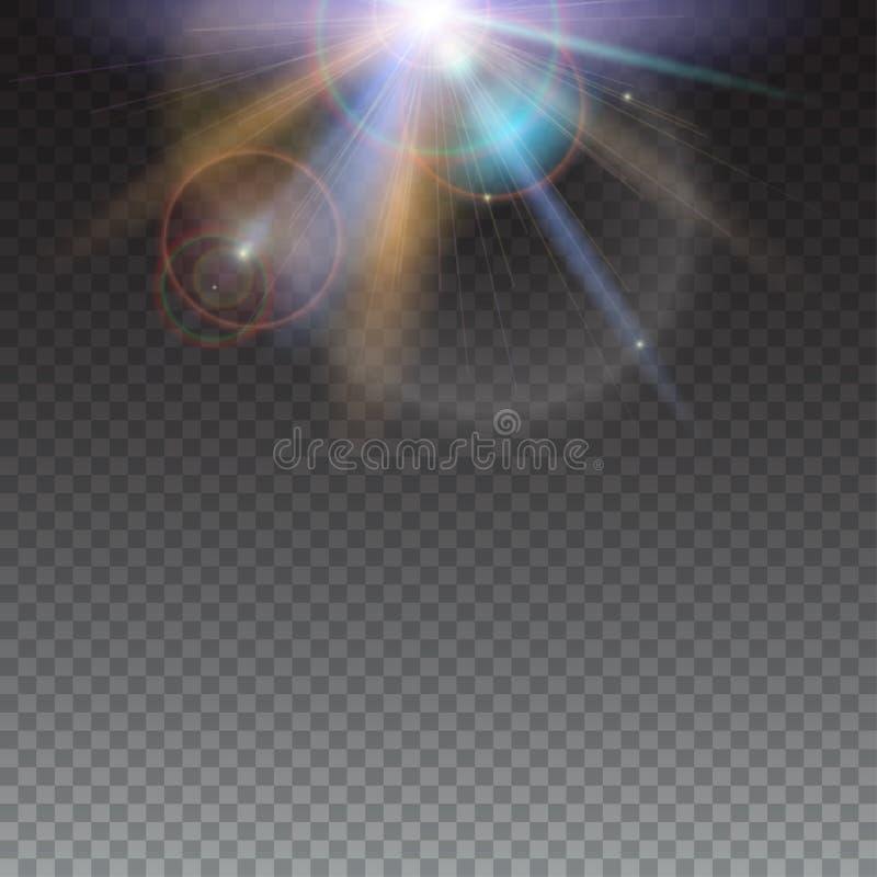 Het malplaatje van ontwerpelementen met gloed lichteffect voor transparante achtergrond Helder licht van zonstralen en lensgloed vector illustratie