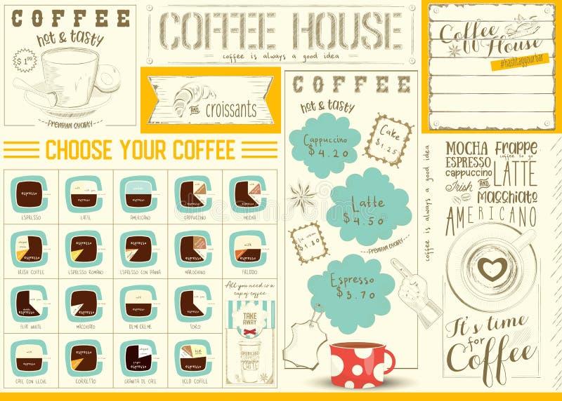 Het Malplaatje van Placemat van het koffiemenu stock illustratie