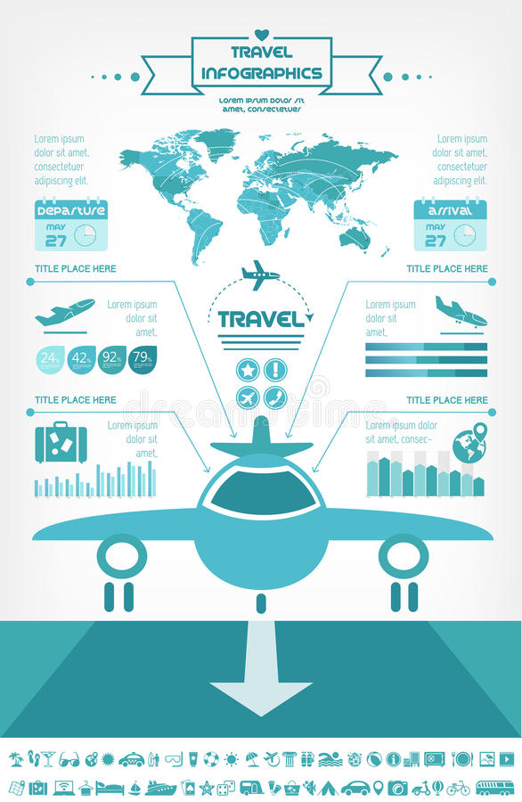 Het Malplaatje van reisinfographic. royalty-vrije illustratie