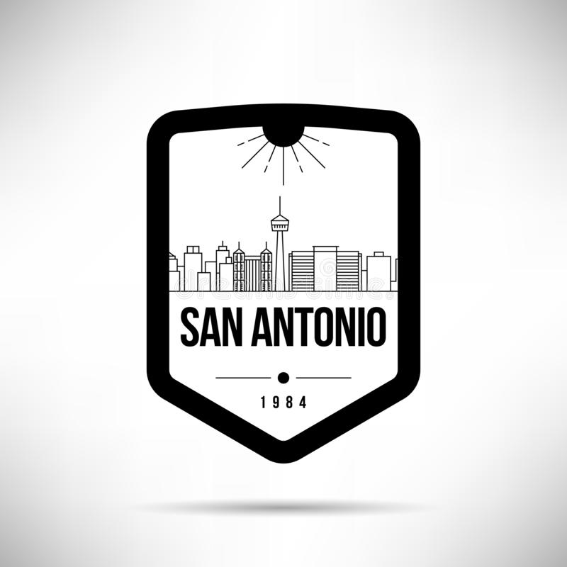 Het Malplaatje van San Antonio City Modern Skyline Vector vector illustratie