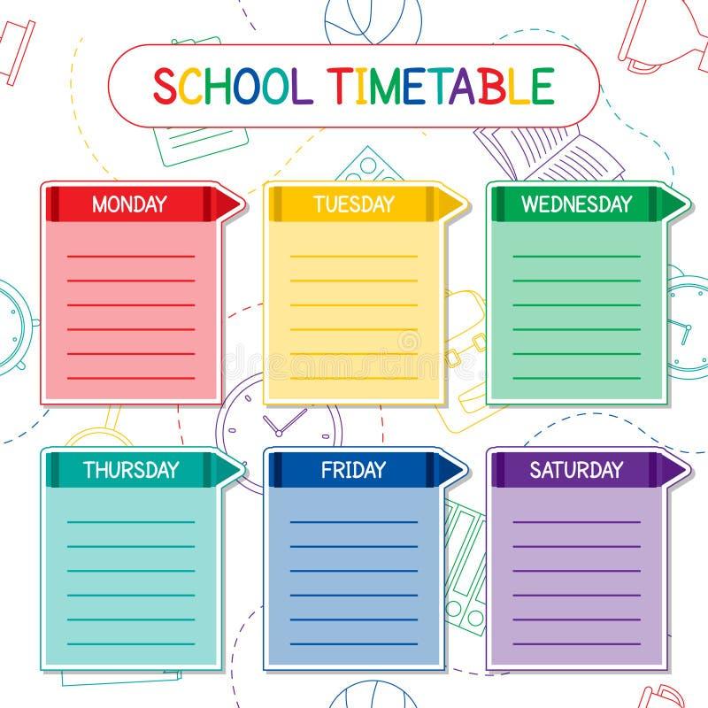 Het malplaatje van het schooltijdschema, een wekelijks leerplanontwerp stock illustratie