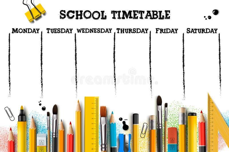 Het malplaatje van het schooltijdschema voor studenten of leerlingen Vector illustratie vector illustratie