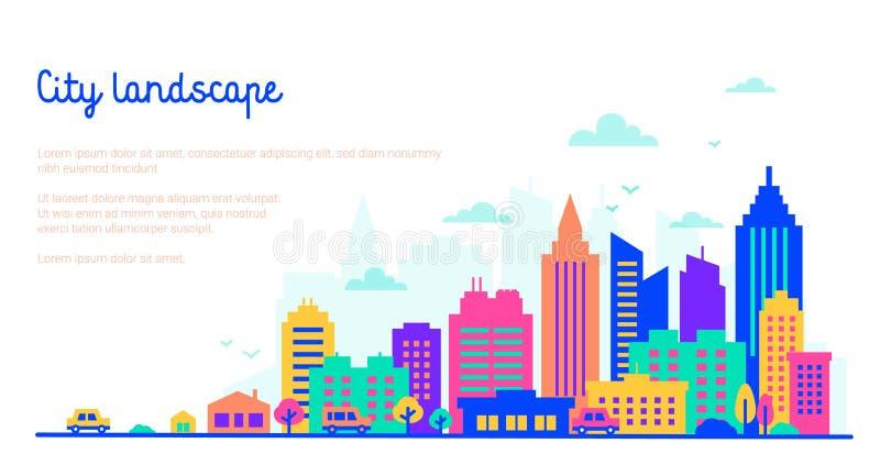Het malplaatje van het stadslandschap met exemplaarruimte De vlakke stijlsilhouetten van gebouwen in neon gloeien levendige kleur stock illustratie