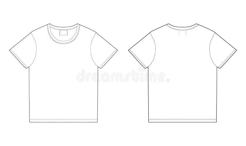 Het malplaatje van het t-shirtontwerp Voorzijde en Rug stock illustratie