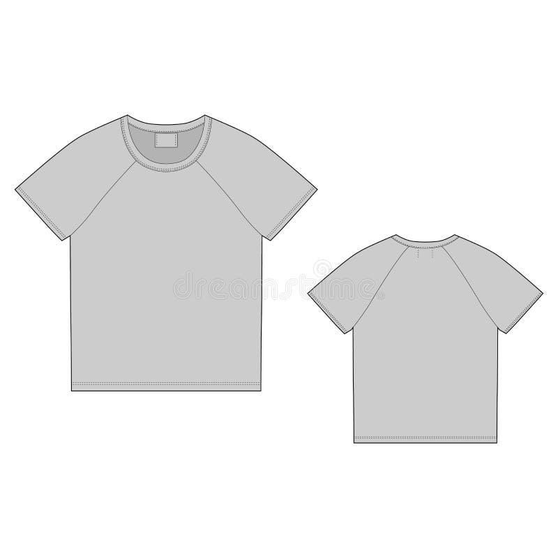 Het malplaatje van het t-shirtontwerp Voorzijde en Rug Technische schetsraglan unisex-t-shirt vector illustratie
