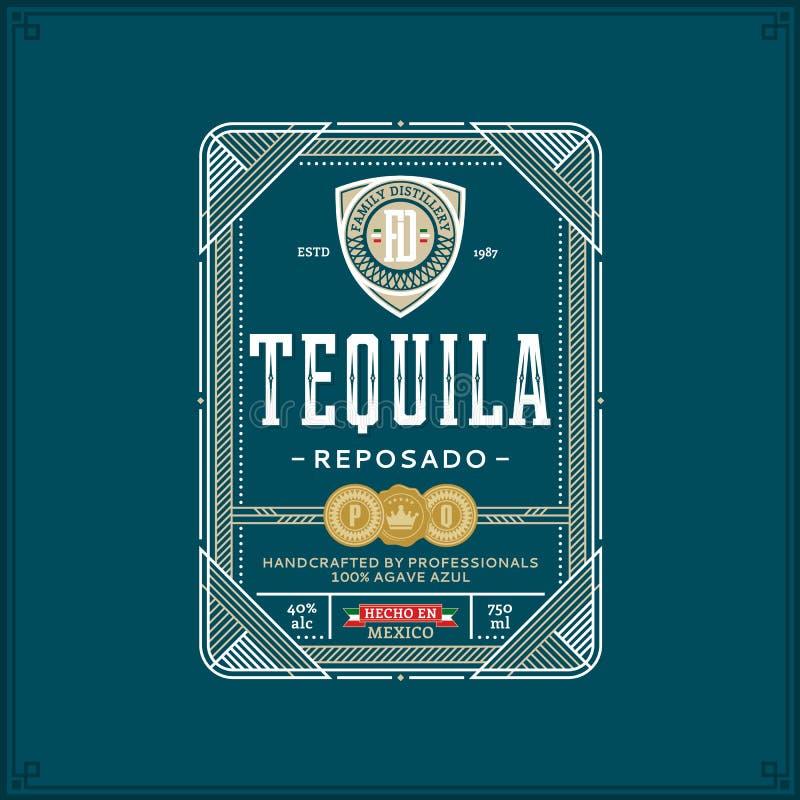 Het malplaatje van het Tequilaetiket stock illustratie