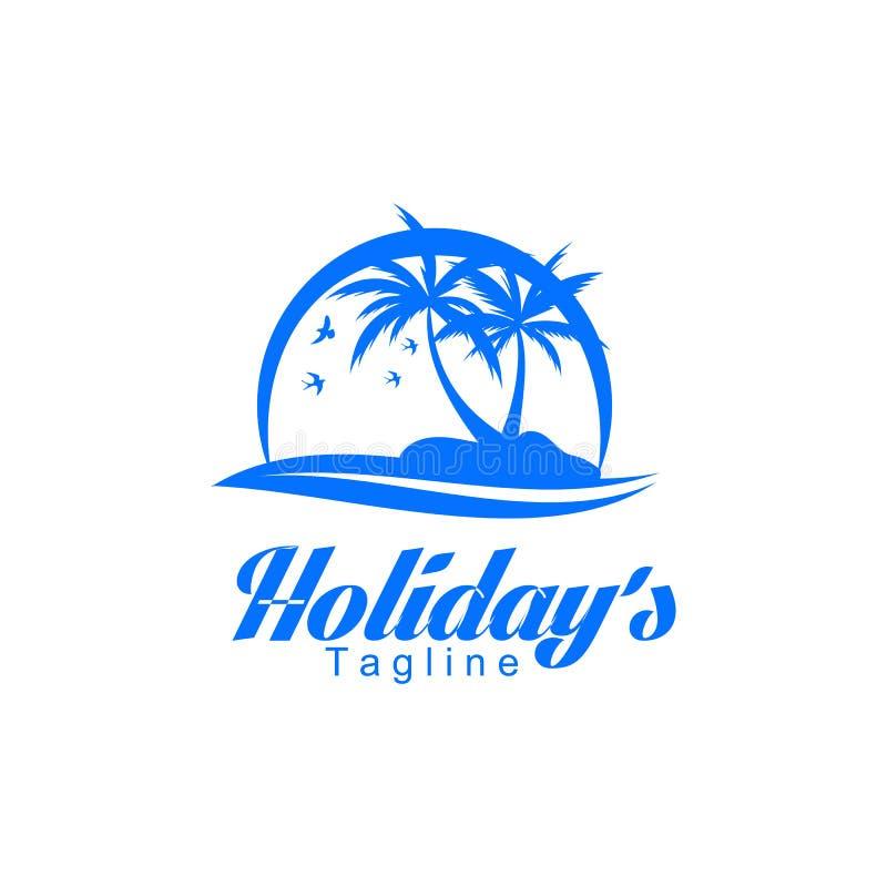 het malplaatje van het vakantieembleem, vector, ontwerp, strand, palm stock illustratie