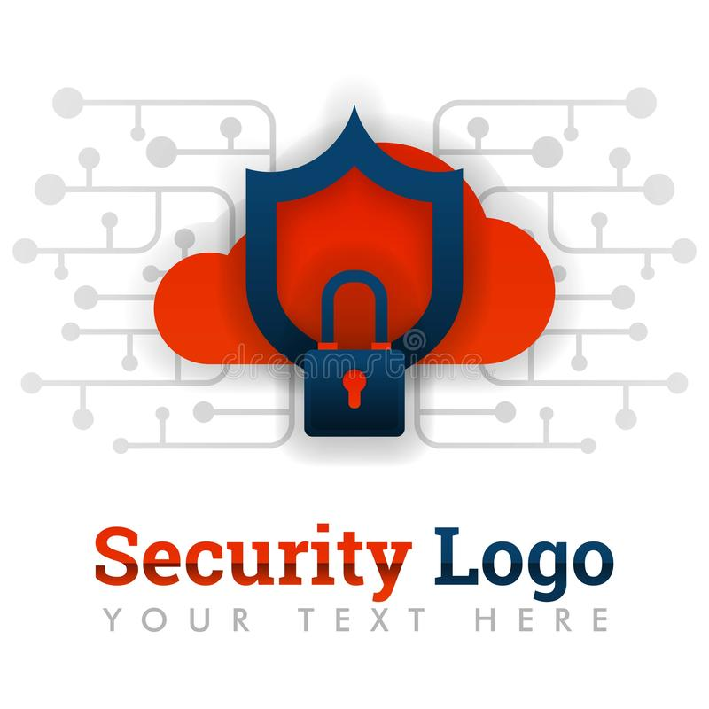 Het malplaatje van het veiligheidsembleem voor wolkenopslag, netwerk, Internet, software, technologie, wifiveiligheid, het binnen stock illustratie