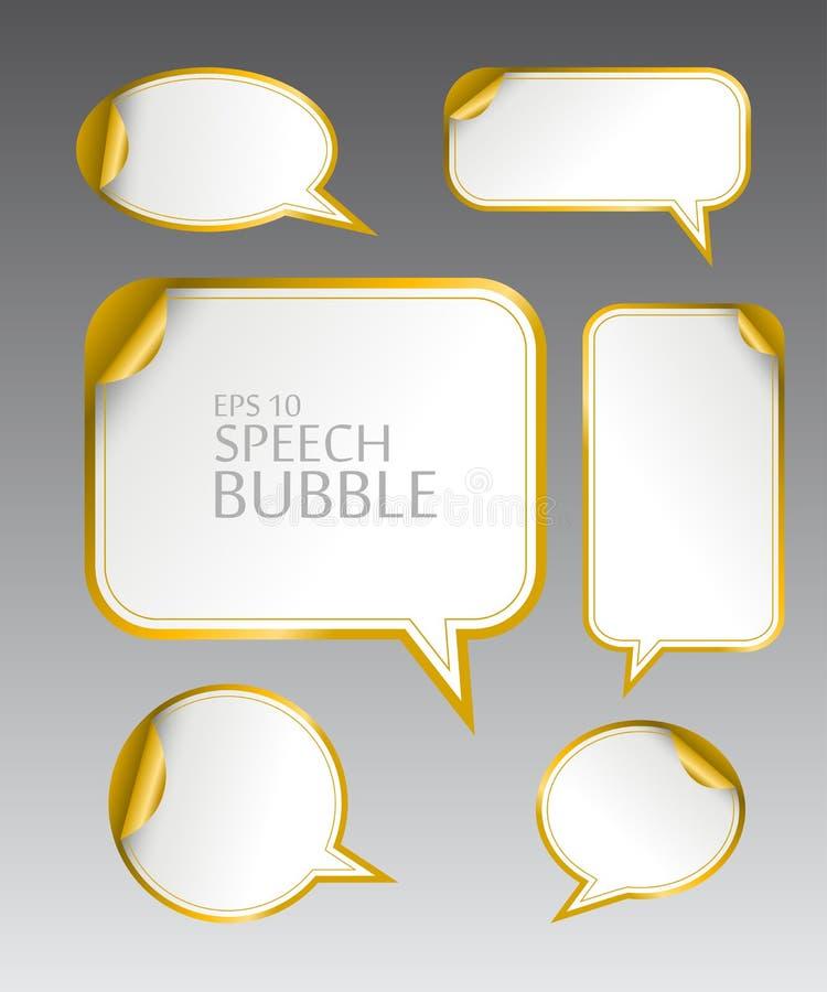 Het malplaatje van verschillende lege gouden toespraak borrelt met gebogen hoek voor dialoog en gedachte mededeling vector illustratie