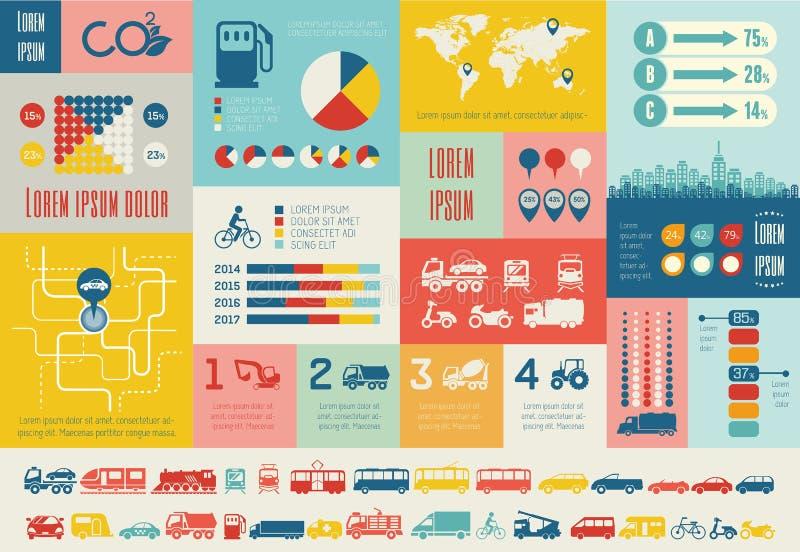 Het Malplaatje van vervoersinfographic. royalty-vrije illustratie