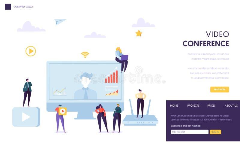 Het malplaatje van het videoconferentielandingspagina Zaken stock illustratie