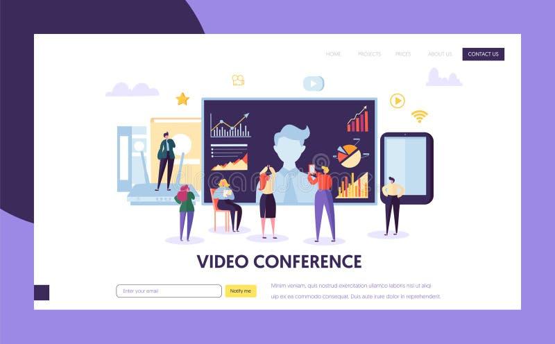 Het malplaatje van het videoconferentielandingspagina Zaken royalty-vrije illustratie