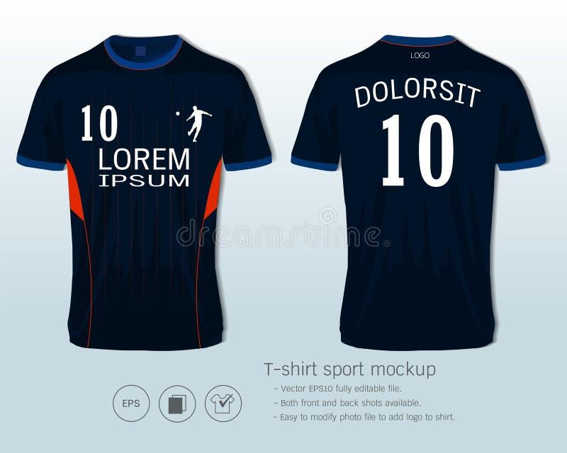 Het malplaatje van voetbaljersey voor van de voetbalclub of sportkleding uniformen, Voor en achter beschikbare schoten stock illustratie