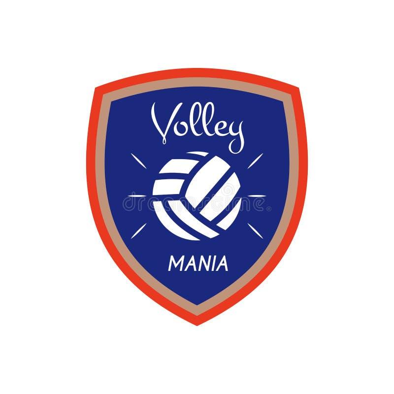 Het malplaatje van het volleyballembleem, kenteken Salvomanie met bal Kleurrijk etiketontwerp voor sportengebeurtenissen of club  stock illustratie