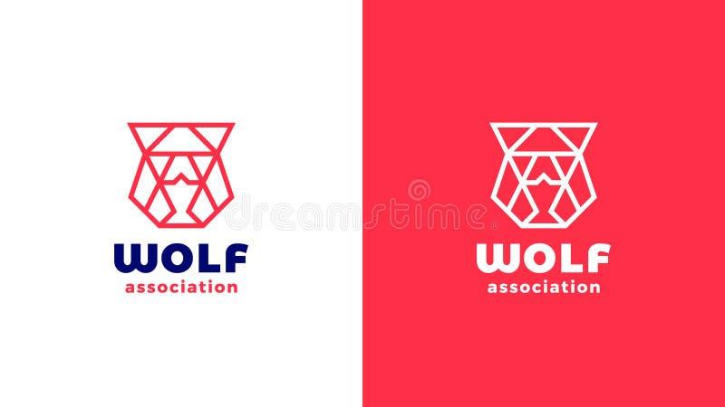 Het malplaatje van wolfs hoofdlogotype, positieve en negatieve verschillende, collectieve identiteit voor merken, rood productemb vector illustratie
