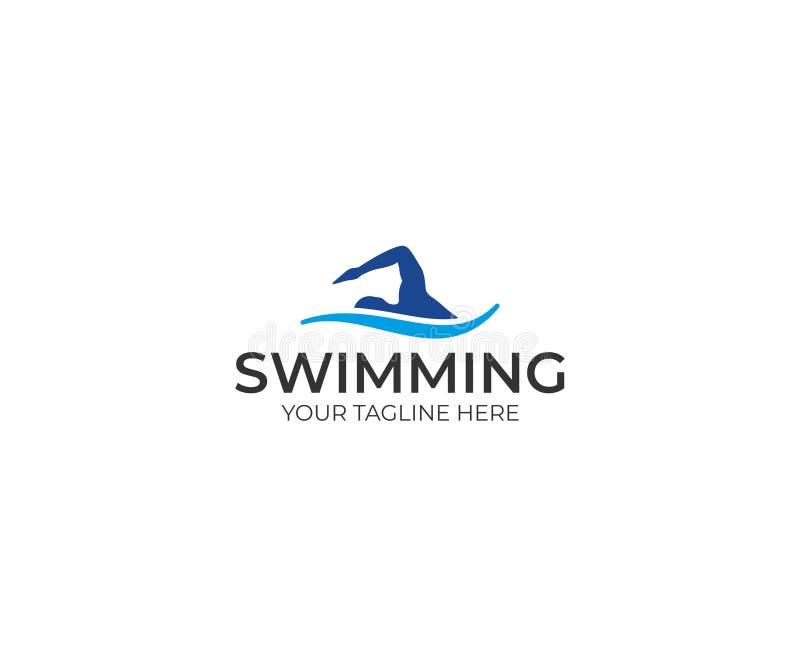 Het malplaatje van het zwemmersembleem Het zwemmen vectorontwerp royalty-vrije illustratie