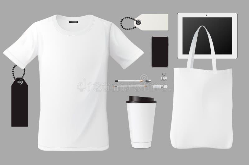 Het malplaatje vastgestelde zaken die van de merkidentiteit collectief modelontwerp, t-shirt, zak, koffiekop, markeringen, pen, k vector illustratie