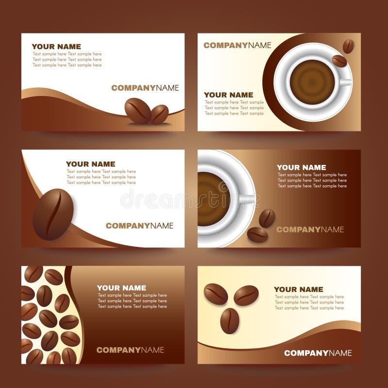 Het malplaatje vector vastgesteld ontwerp van het koffieadreskaartje stock illustratie