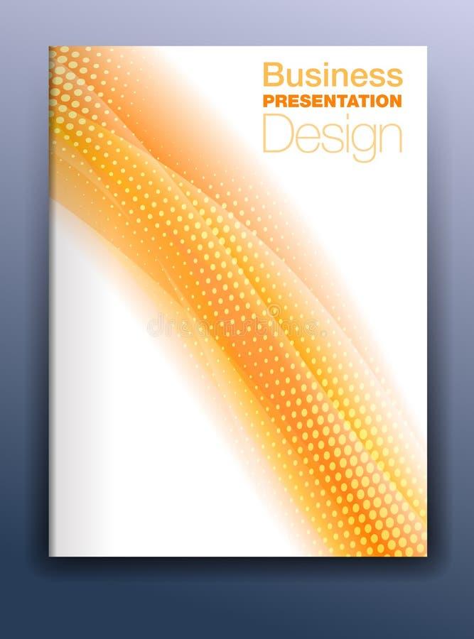 Het Malplaatje Vectorontwerp van de brochure Oranje Dekking voor Zaken Presen royalty-vrije illustratie