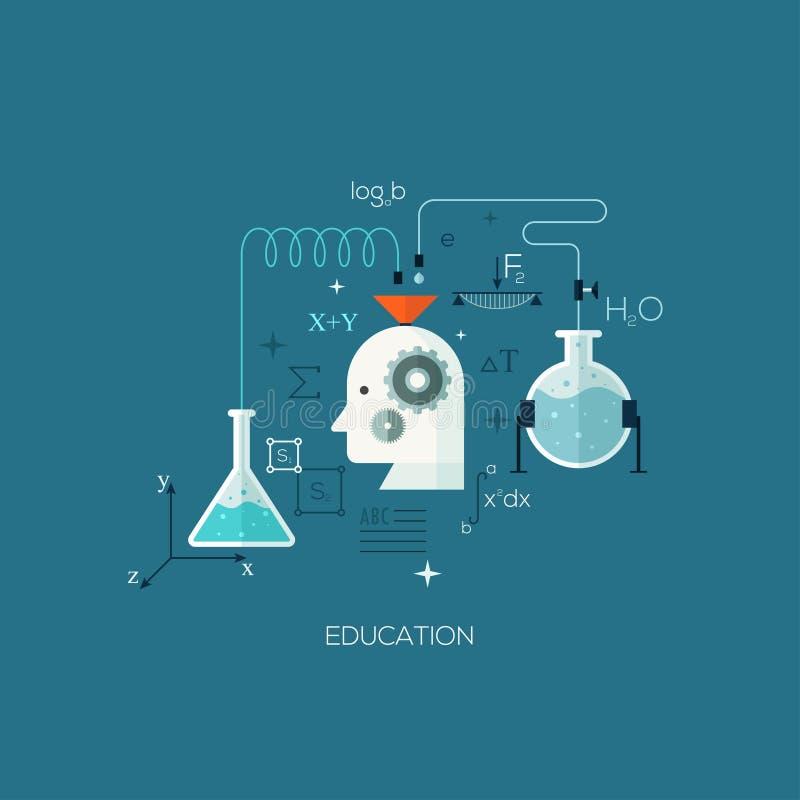 Het malplaatje vlak van de ontworpen conceptenillustratie voor onderwijs stock illustratie