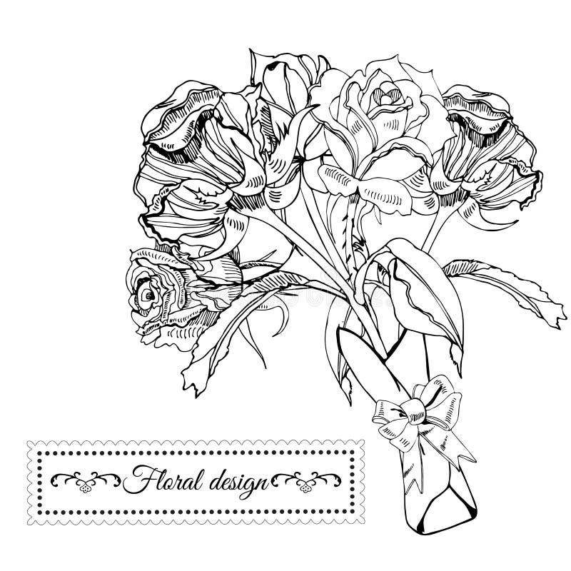 Het malplaatje voor uitnodiging of groet zwart-wit kaart van het tot bloei komen nam bloemen toe Hand getrokken inktschets op wit vector illustratie