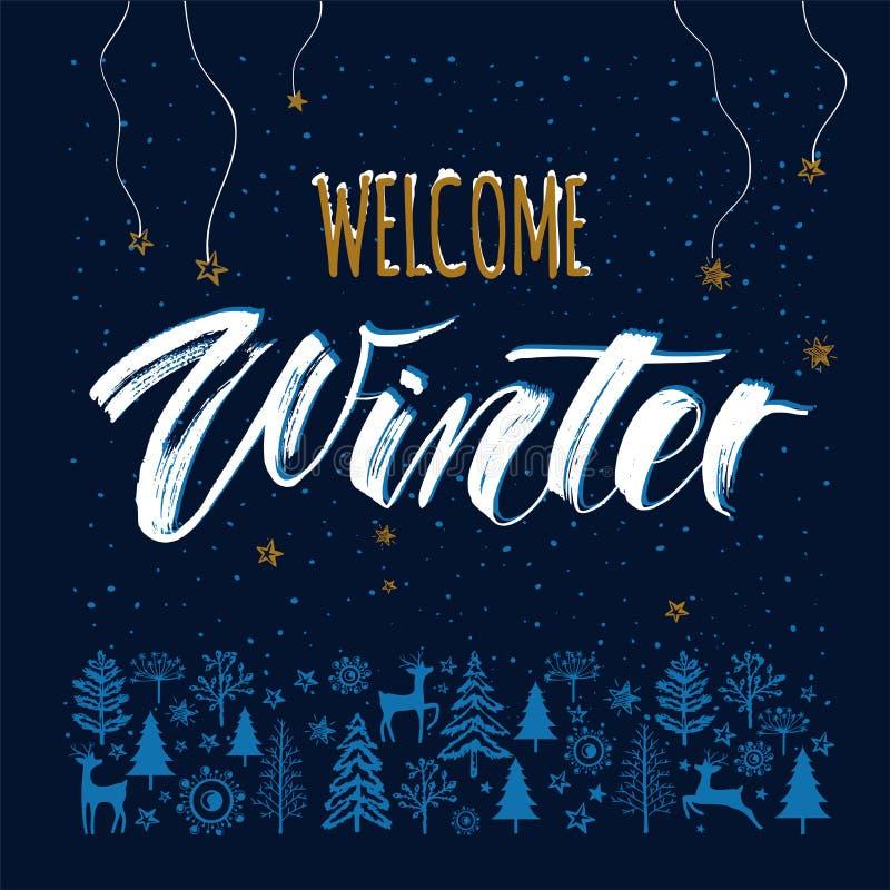 Het malplaatjeachtergrond van de de winternacht met getrokken hand het van letters voorzien de Welkome Winter royalty-vrije illustratie