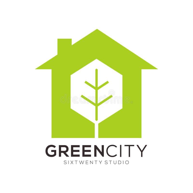 Het Malplaatjeembleem & Pictogram van groen & Kleuren volledig Real Estate royalty-vrije illustratie