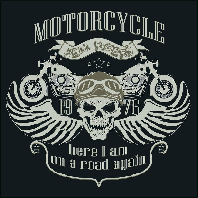 Het Malplaatjeembleem van het motorfietsontwerp Schedelruiter - stock illustratie